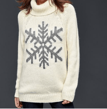 Snowflake Turtleneck Sweater