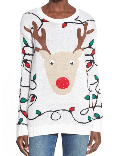 Light-Up Reindeer Jacquard Christmas Sweater