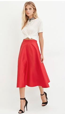 Contemporary A-Line Midi Skirt