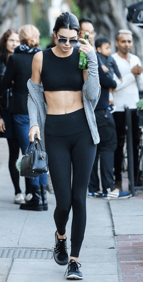 Kendall Jenner wearing Alo High Waist Airbrushed Leggings
