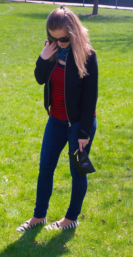 Black Bomber Jacket, Denim and Stripes
