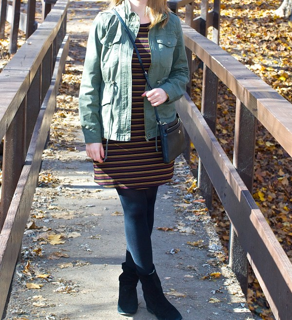 Green utility Jacket and Striped Dress - Fall Outfit idea