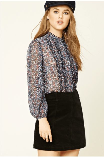 Floral Pinstripe Ruffle Top from Forever 21