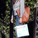 Jessica Biel wearing Boxy Heathered Knit Sweater