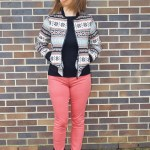 Multicolor Tribal Bomber Jacket and Coral Denim
