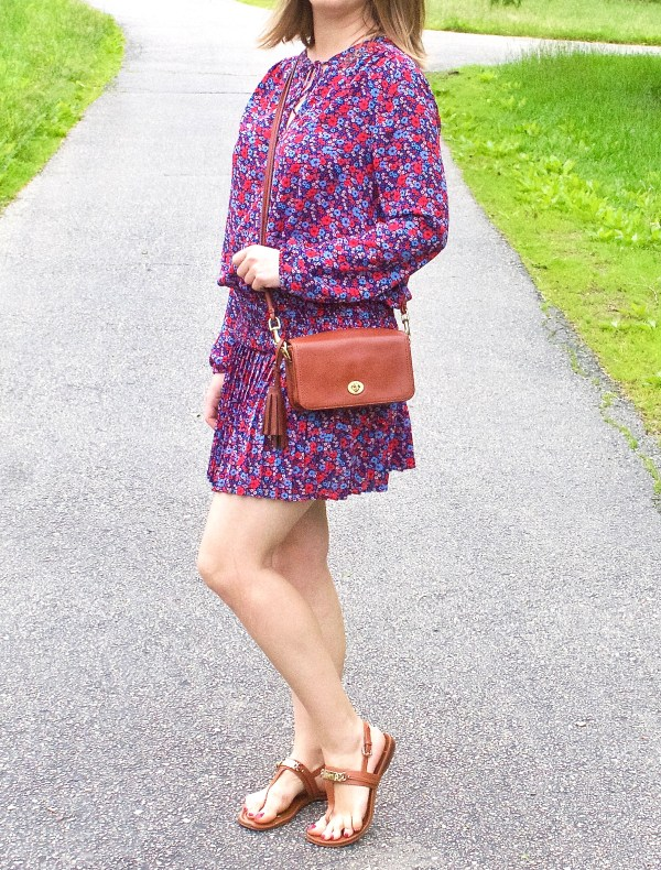 Floral Red and Blue Pleated Dress