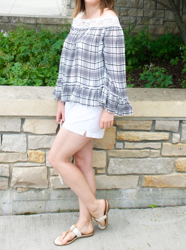 Plaid off the shoulder blouse and white shorts