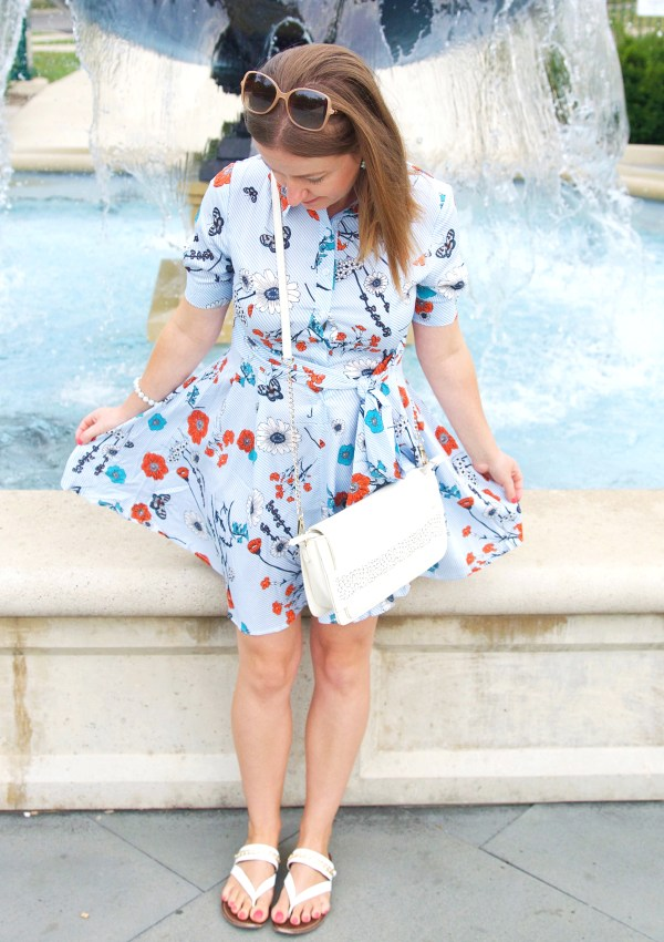 Blue And Red Floral Print Dress