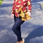 Burgundy And Mustard Floral Corduroy Top – Fall Outfit Idea