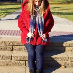 Red Faux Fur Hooded Coat
