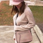 Beige Turtleneck Sweater and Pink Suede Hat