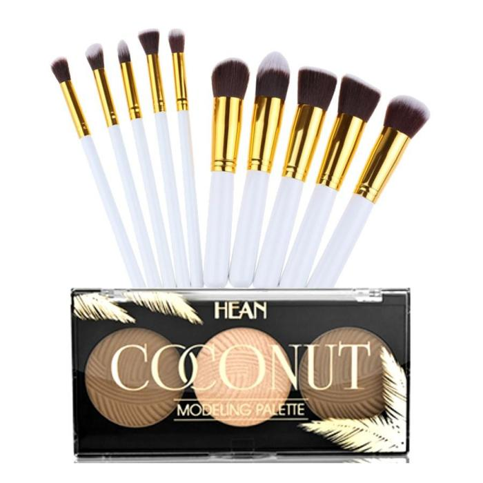 10 Piece white and gold kabuki brush set + coconut contouring palette 1