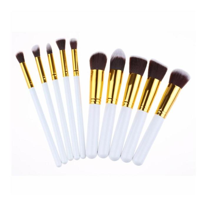 10 Piece White And Gold Kabuki Brush Set 2