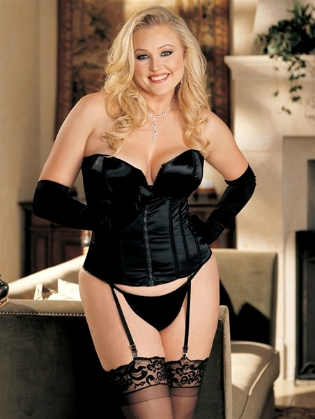 Sexy Satin Corset And G String Set