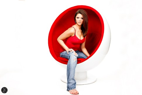 Kylee Marie Jaeger chillin on the ball chair