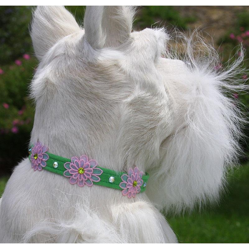 Susan Lanci Gerber Daisies Swarovski Dog Collar Designer