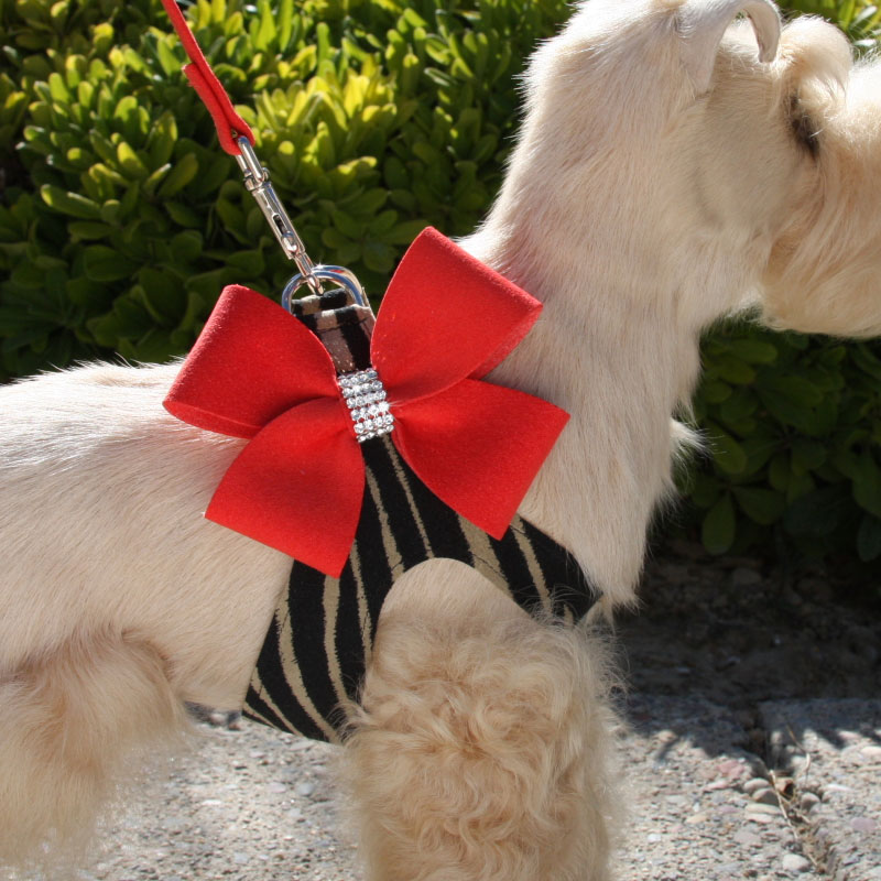 Two Tone Nouveau Bow Step In Dog Harness Red Pepper