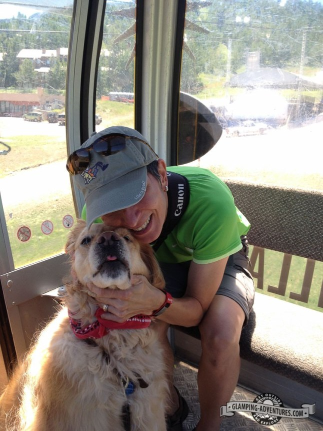 Daisy getting some love on the gondola.