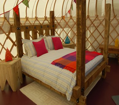 Bed in Oak Yurt