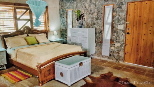 glamping bedroom at villa isabel