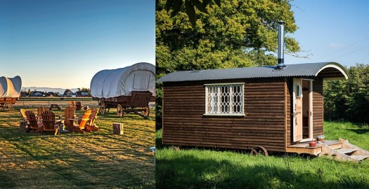 Glamping Accommodations Conestoga Ranch wagon left and Withywood Shepherd's Hut right