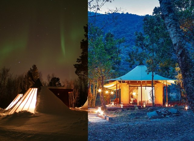 Glamping Tent and Tipi - image from Holmen Husky Lodge in Norway left, Kohima Camp in India right