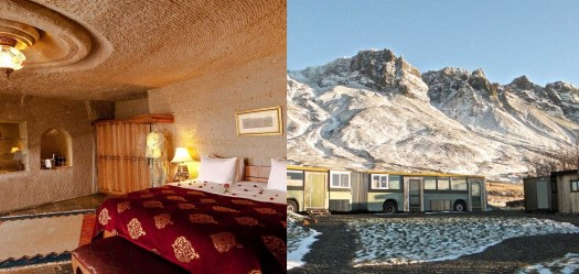 Glamping Blog accommodations Museum Hotel cave room in Turkey and Esjan bus in Iceland