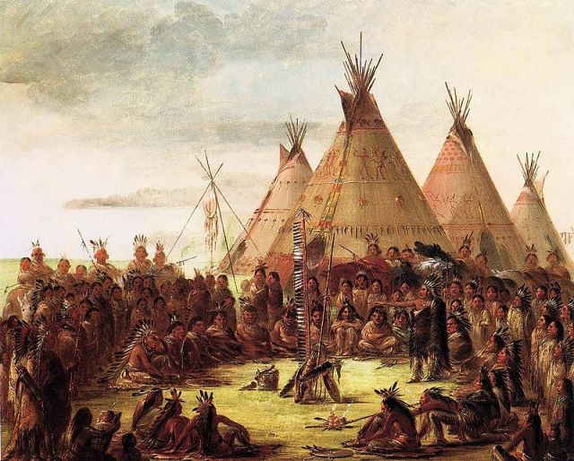 Native American Tipis painting by Geroge Catlin in the 1830s - Wikipedia