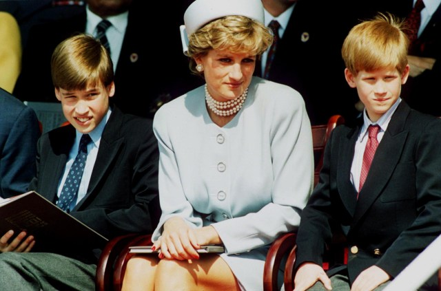 LONDON - MAY 7: (FILE PHOTO) Princess Diana, Princess of Wales with her sons Prince William and Prince Harry attend the Heads of State VE Remembrance Service in Hyde Park on May 7, 1995 in London, England. (Photo by Anwar Hussein/Getty Images)