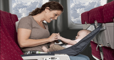 Mother and baby in a plane