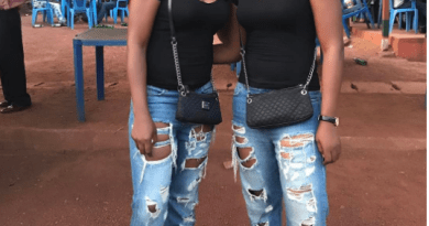 Aneke twins in ripped jeans