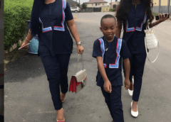 Mercy Aigbe And Her Kids Step Out Rocking Coordinated Outfit