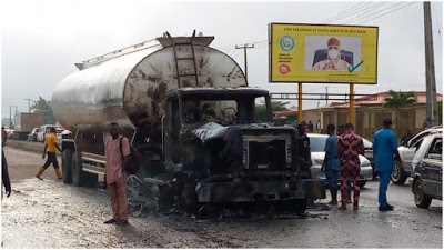Petrol Tanker Catches Fire In Front Of Ogun Governor's Office