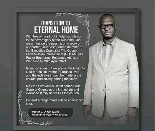 GOFAMINT General Overseer, Pastor Elijah Abina Loses 53-Year-Old Son