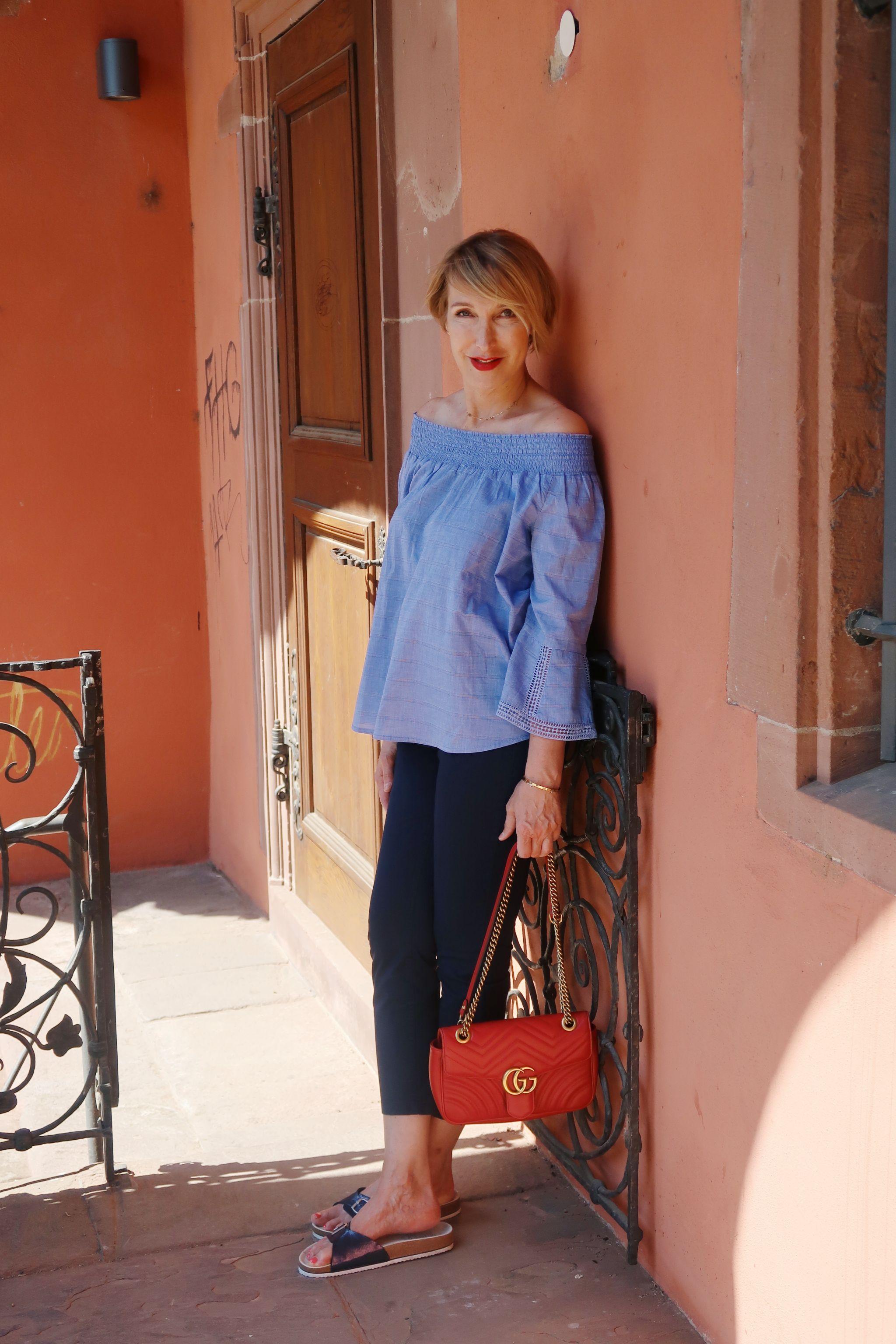 glamupyourlifestyle streifenshirt ringelpulli offshoulder-blouse leinenhose ue-40-mode ue-50-blo