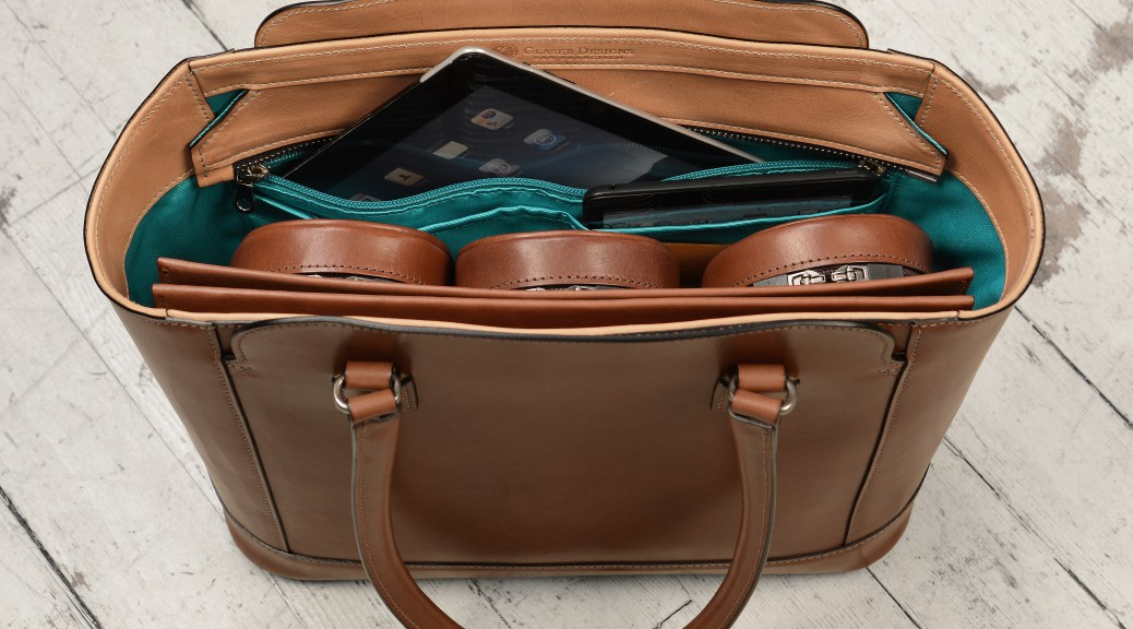 Hand-Burnished Espresso City Tote with Hand-Grained Natural Trim and Turquoise Grosgrain Lining