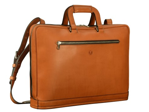 Hand-burnished-chestnut-Platform-Portfolio-with-shoulder-strap-and-open-back-pocket;-17-x-12-x-4'