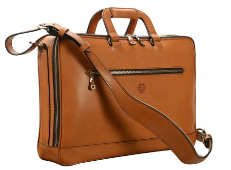 Hand-burnished,-chestnut-Soft-Attache-with-silver-hardware;-17-x-12-x-4'