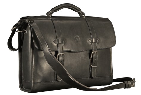Hand-burnished-black-Headhunter-Flaptop-Bag;-16-x-12-x-4'