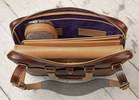 Hand-grained-hand-colored-espresso-Platform-Portfolio-with-purple-lining-and-shoulder-strap;-16-x-11-x-4'-topdown1