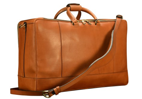 Hand-burnished-chestnut-Square-Duffel-with-dark-olive-green-lining;-22-x-14-x-8-back