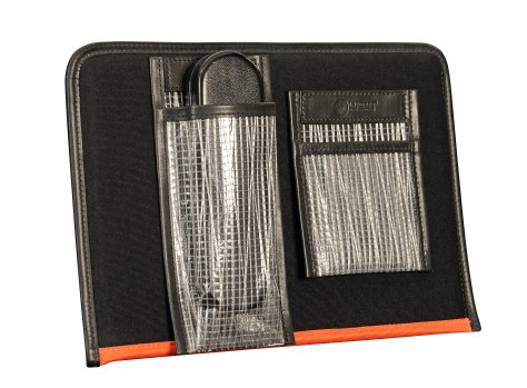 Hand-burnished-black-Padded-Panel-with-tangerine-lining,-eye-glasses-holder-and-shirt-pocket-organizer-back