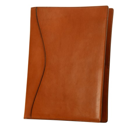 Hand-burnished-chestnut-all-leather-Writing-Pad-front