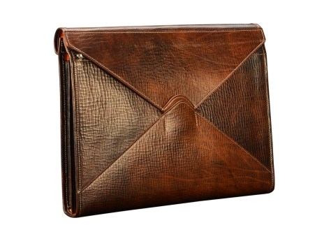 Hand-grained,-hand-colored-espresso-All-Leather-Flapover-Folderholder®-with-natural-leather-trim-and-tangerine-grosgrain-lining