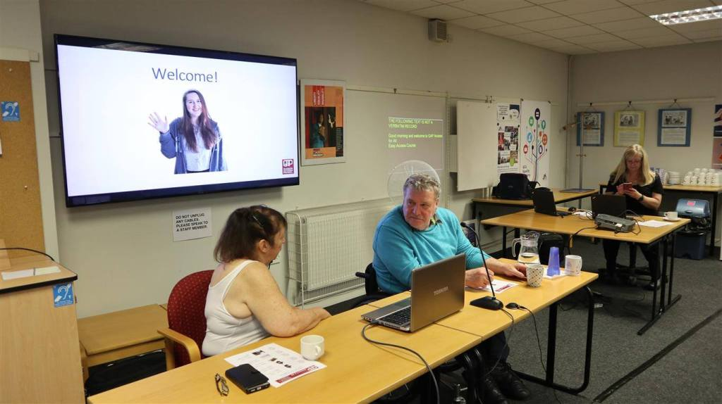An image of the GAP team delivering training at the Glasgow Centre for Inclusive Living