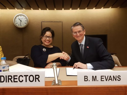 Ivonne Higuero, Director of Forest, Land and Housing Division, UNECE and Professor Brian Evans shake hands