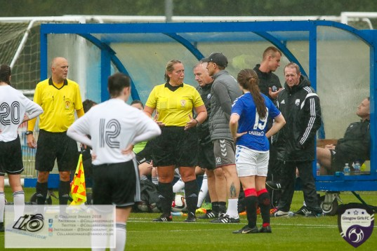 A wet day at the Hummel Training Centre greeted the players as Rangers Ladies entertained Glasgow Girls in the 3rd Round Scottish Cup. Unfortunately the weather took its toll and the game was abandoned at half time.