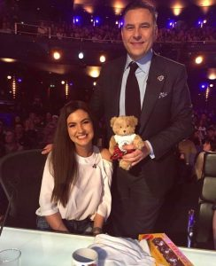 Cancer survivor Erin McCafferty with David Walliams at Britains' Got Talent auditions