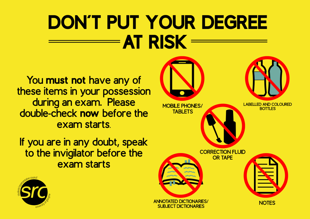 Exam Prohibited Items poster