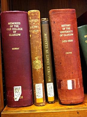 Photo: Books about Glasgow University.